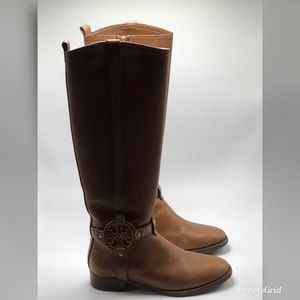 471a343f542 Tory Burch Amanda Riding Boots Tumbled Brown 7.5
